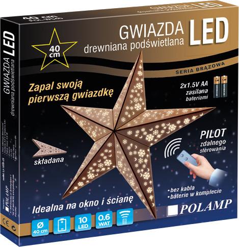 Drewniana Gwiazda Led Z Pilotem 40 Cm